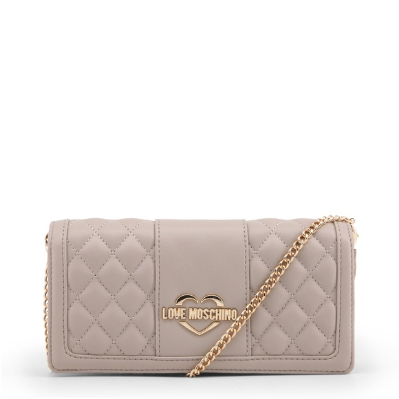 962898825b57 Love Moschino Cream Quilted Clutch with chain